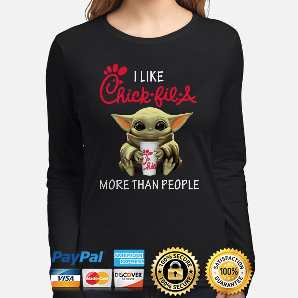 Baby Yoda I like Chick-Fil-A more than people Long sleeve