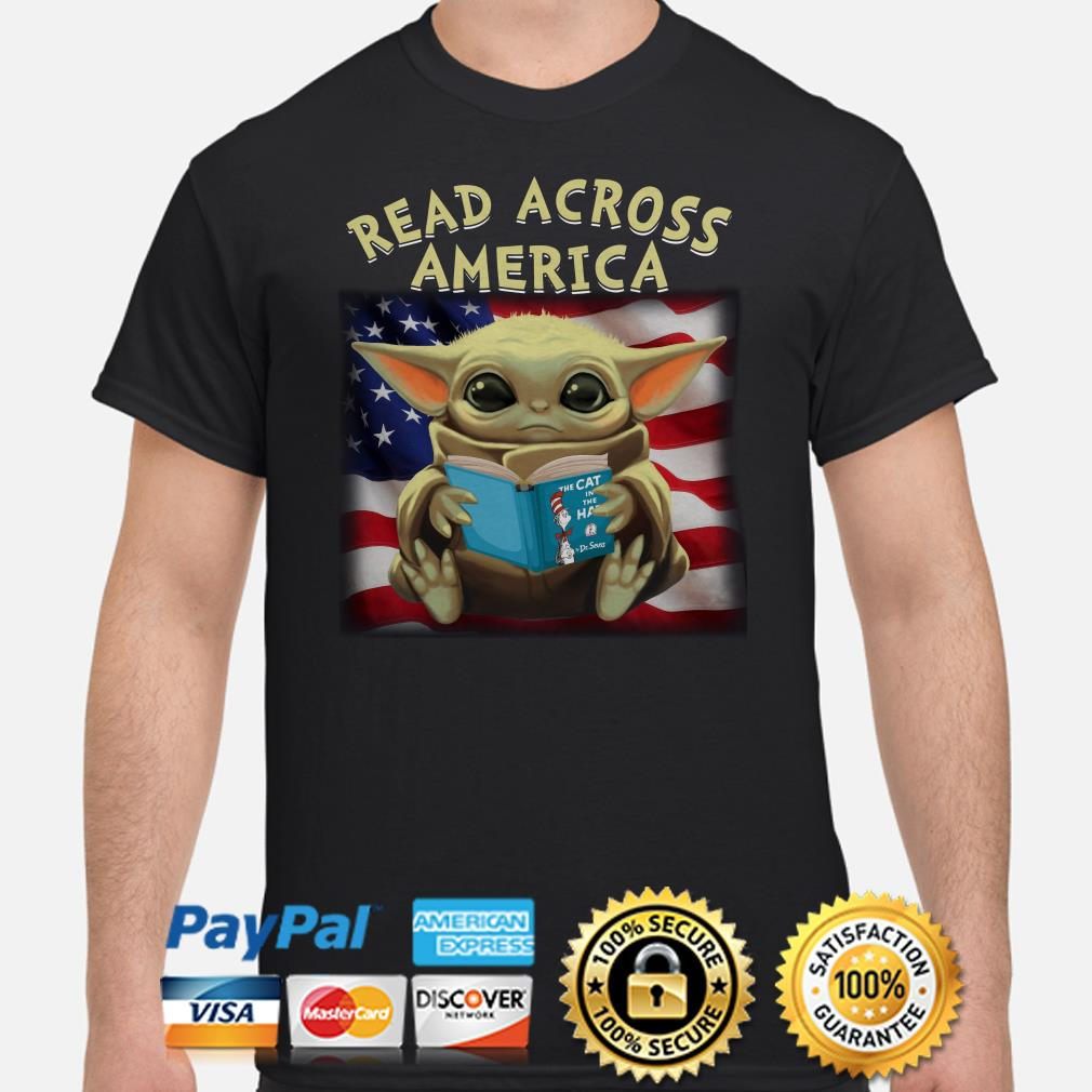 Baby Yoda read across America flag shirt