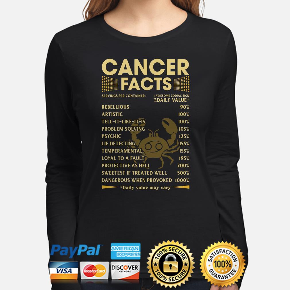 Cancer Facts Servings per container daily value Long sleeve