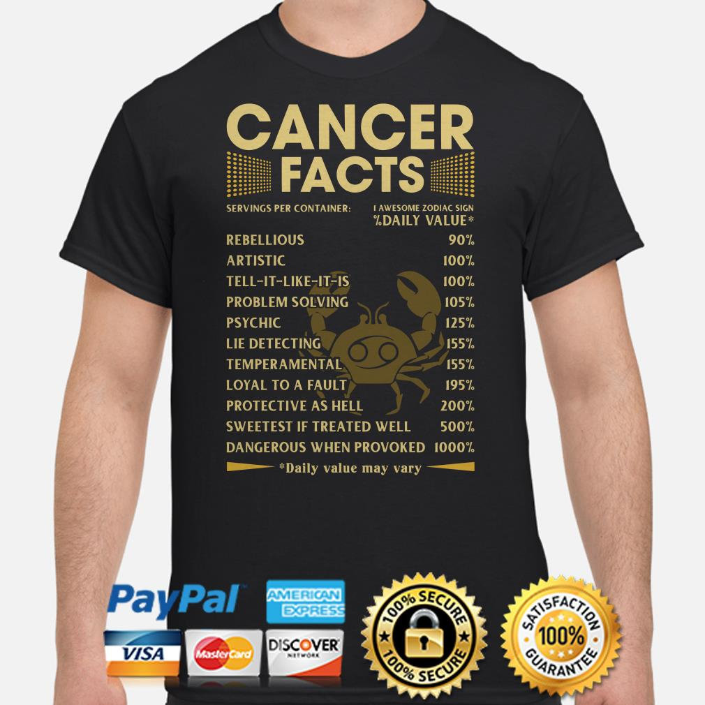 Cancer Facts Servings per container daily value shirt