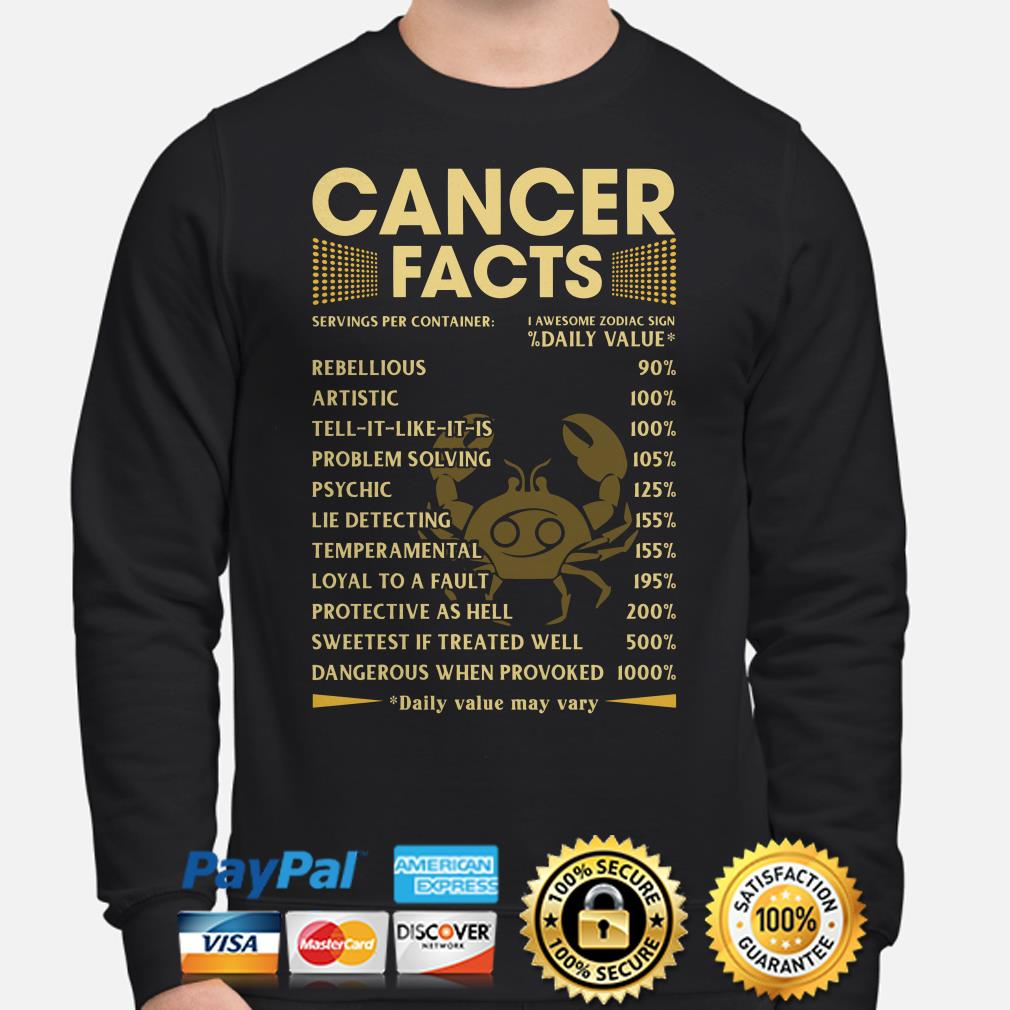 Cancer Facts Servings per container daily value Sweater