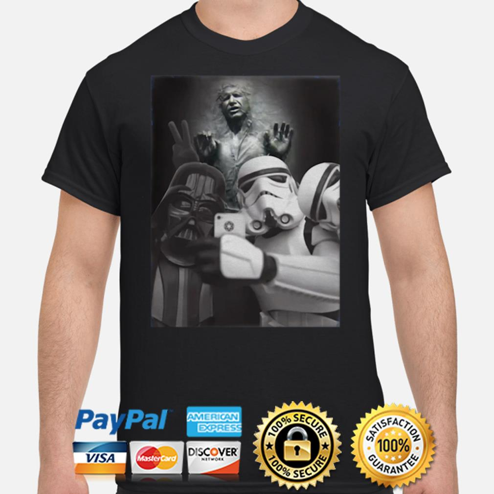Darth Vader and Stormtrooper Selfie with Frozen Han Solo shirt