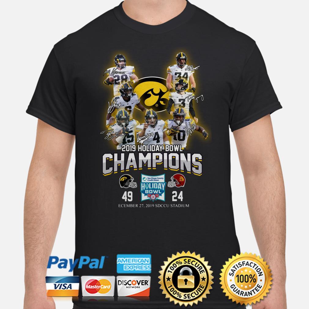 Iowa Hawkeyes 2019 holiday Bowl Champions signatures shirt
