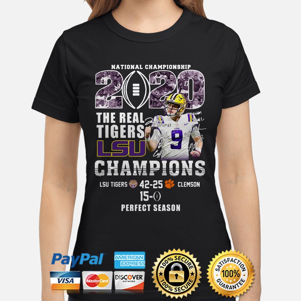 National Championship 2020 The Real Tigers Lsu Champions Joe Burrow Signature ladies shirt