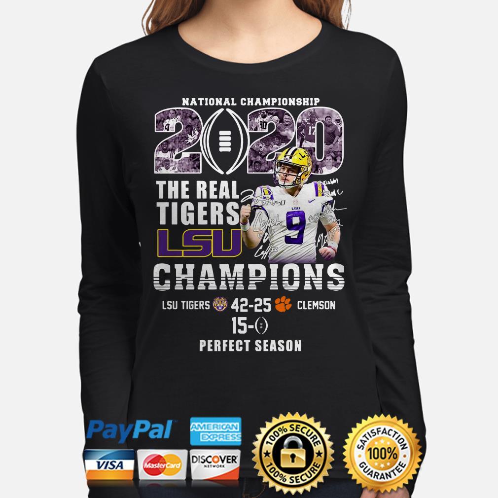 National Championship 2020 The Real Tigers Lsu Champions Joe Burrow Signature long sleeve