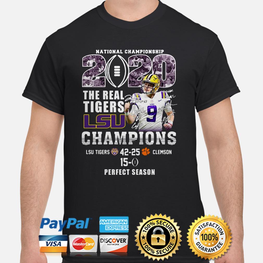 National Championship 2020 The Real Tigers Lsu Champions Joe Burrow Signature Shirt