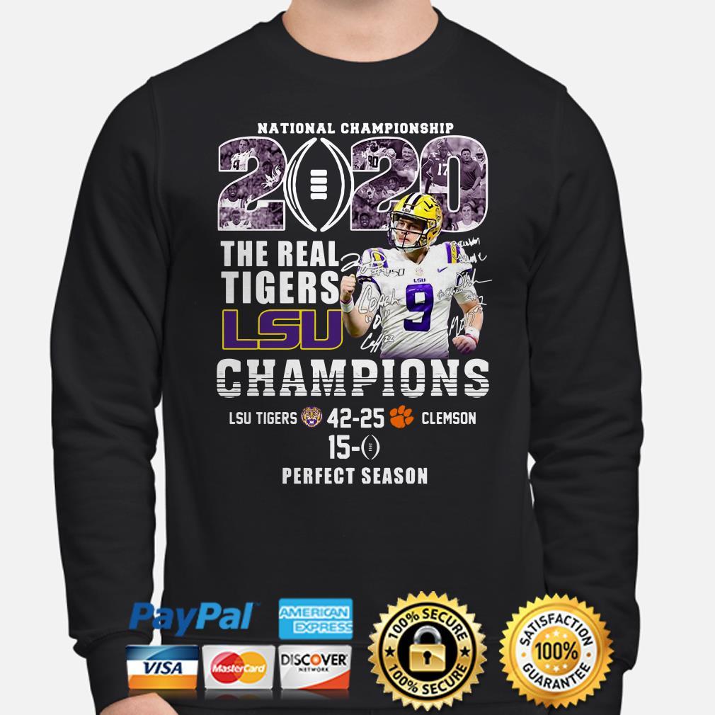 National Championship 2020 The Real Tigers Lsu Champions Joe Burrow Signature sweater