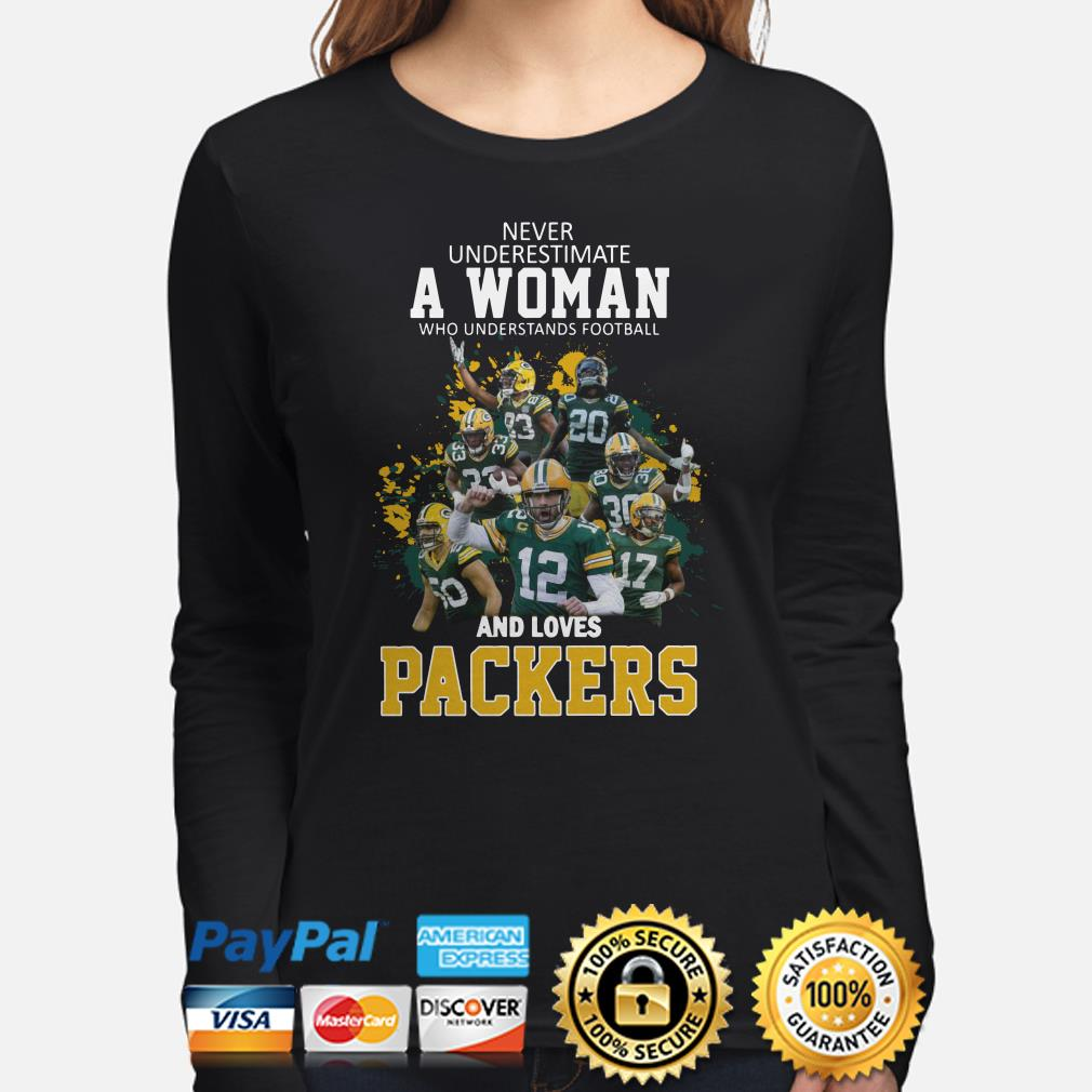 Never underestimate a woman who understands football and loves Packers Long sleeve