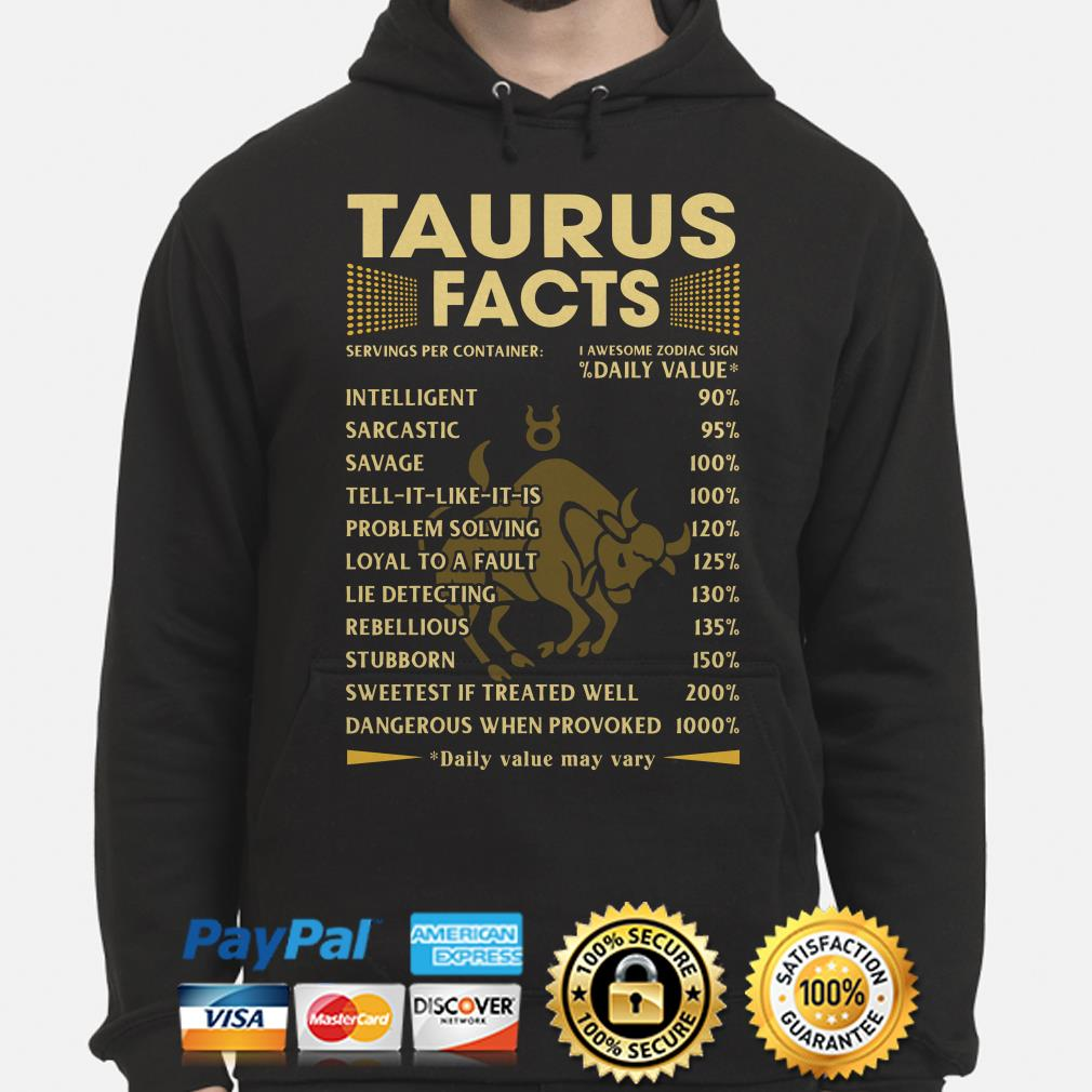 Taurus Facts Servings per container daily value Hoodie