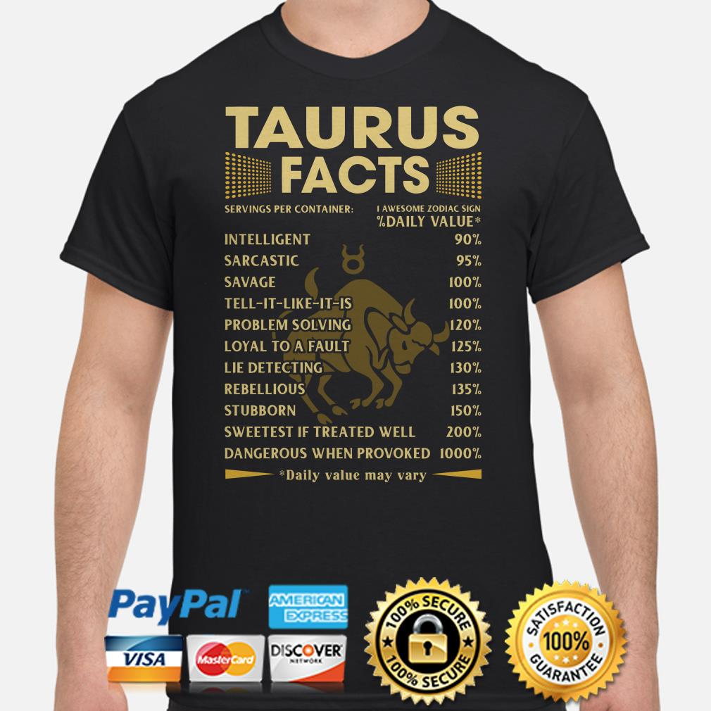 Taurus Facts Servings per container daily value shirt