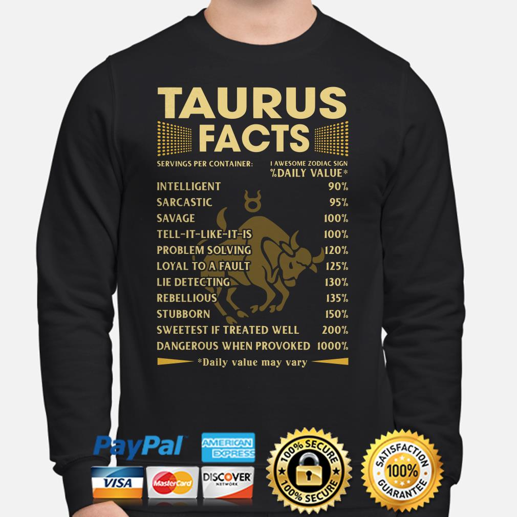 Taurus Facts Servings per container daily value Sweater