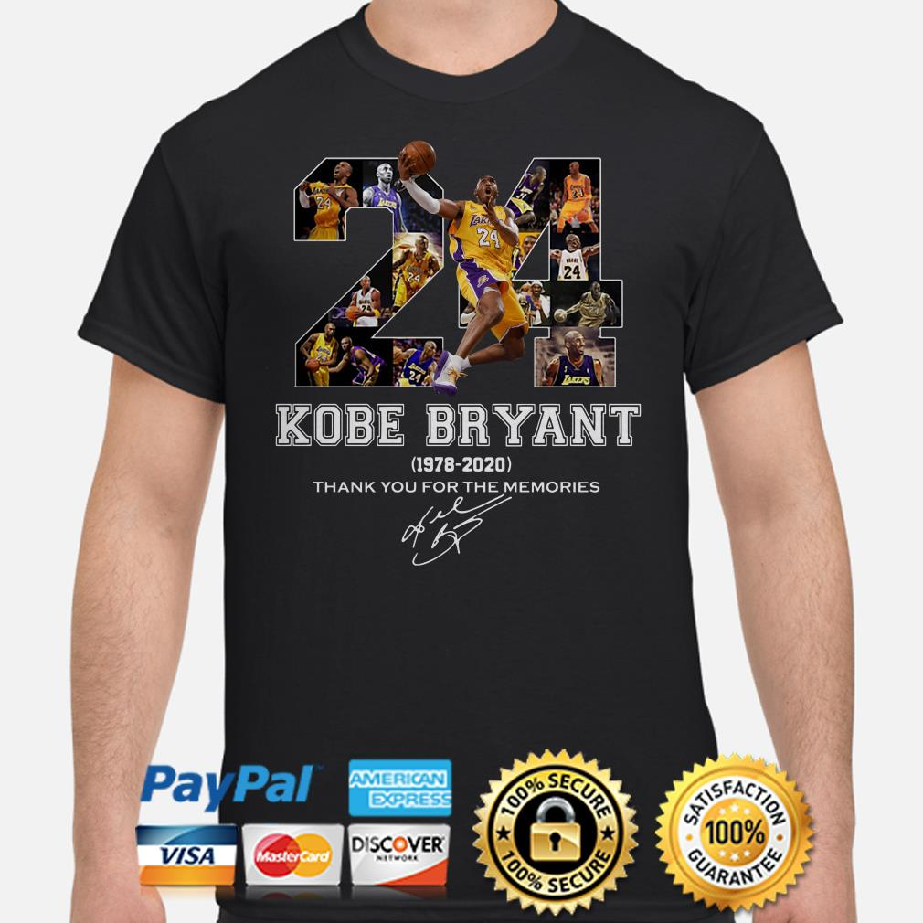 24 Kobe Bryant 2978 2020 thank you for the memories signature shirt