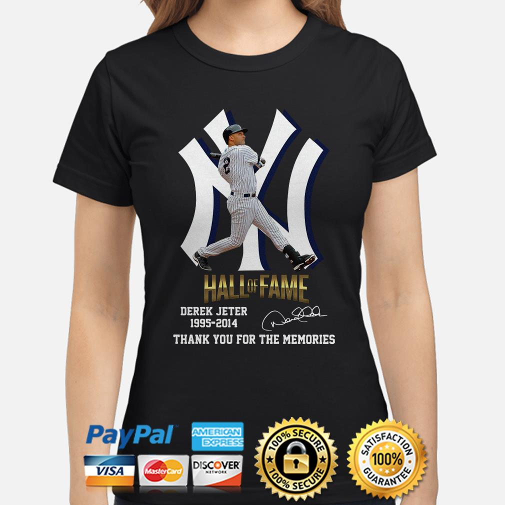 Hall Of Fame Derek Jeter 1995 2014 thank you for the memories signature Ladies shirt