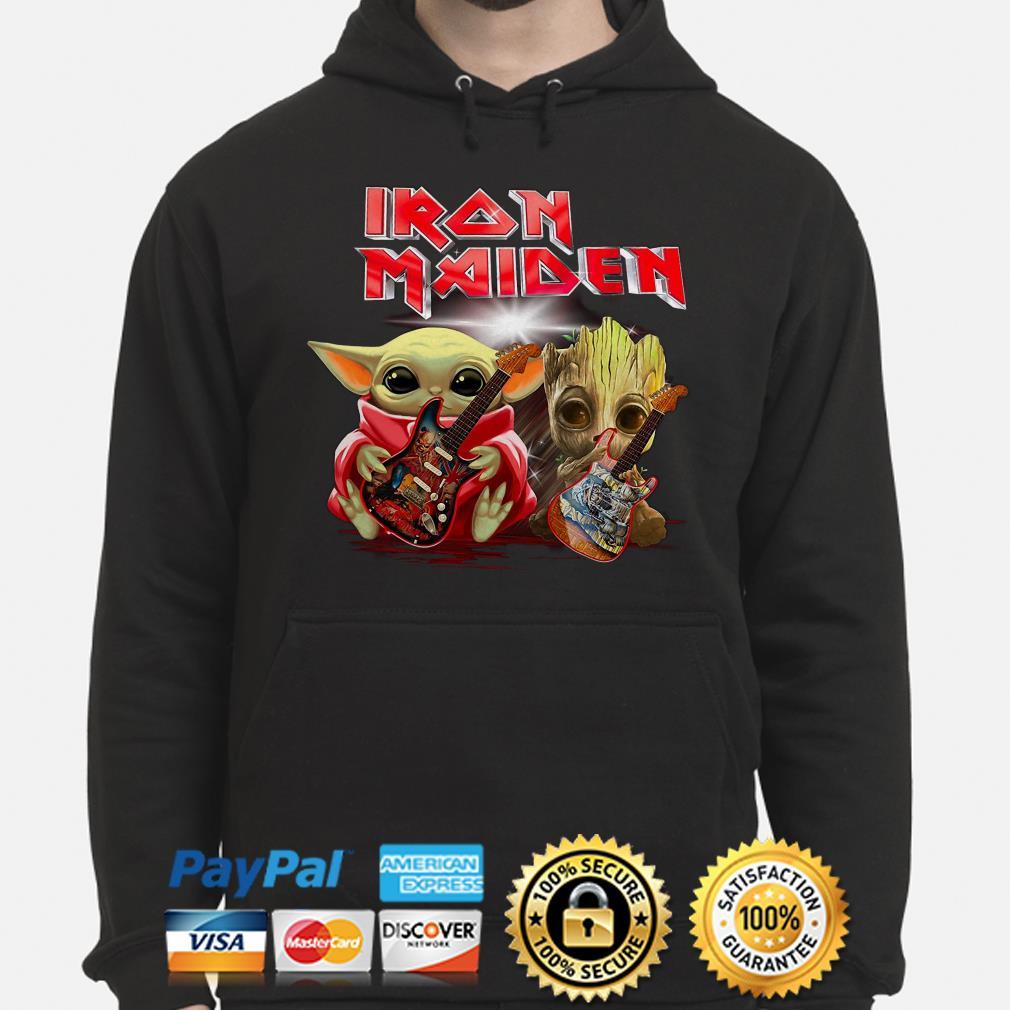Baby Yoda And Groot Hug Iron Maiden Hoodie