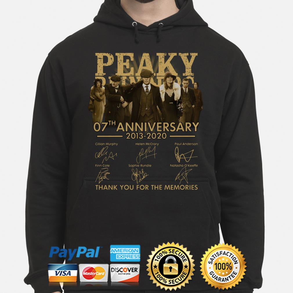 Peaky Blinders 07th Anniversary 2013 2020 Thank You For The Memories Signatures Hoodie