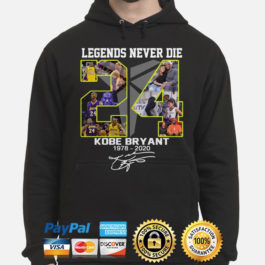 Legends never die Kobe Bryant Black Mamba 1978 2020 signature Hoodie