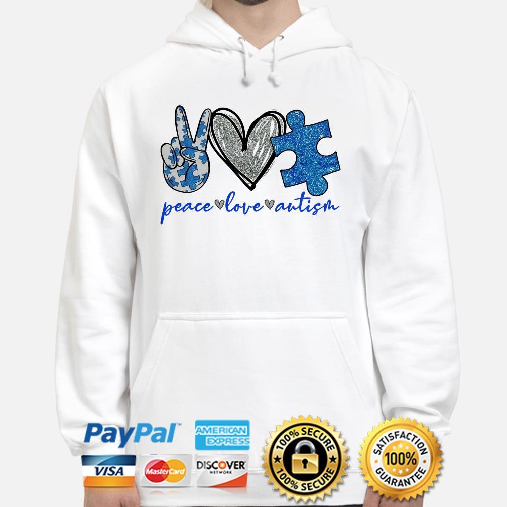Peace love Autism heart Diamonds Hoodie