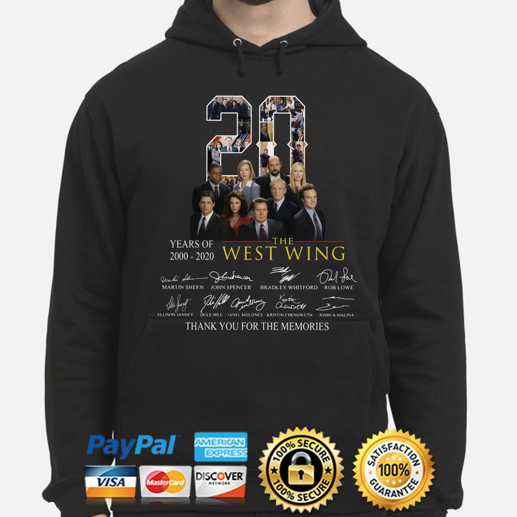 20 years of The West Wing thank you for the memories signature Hoodie