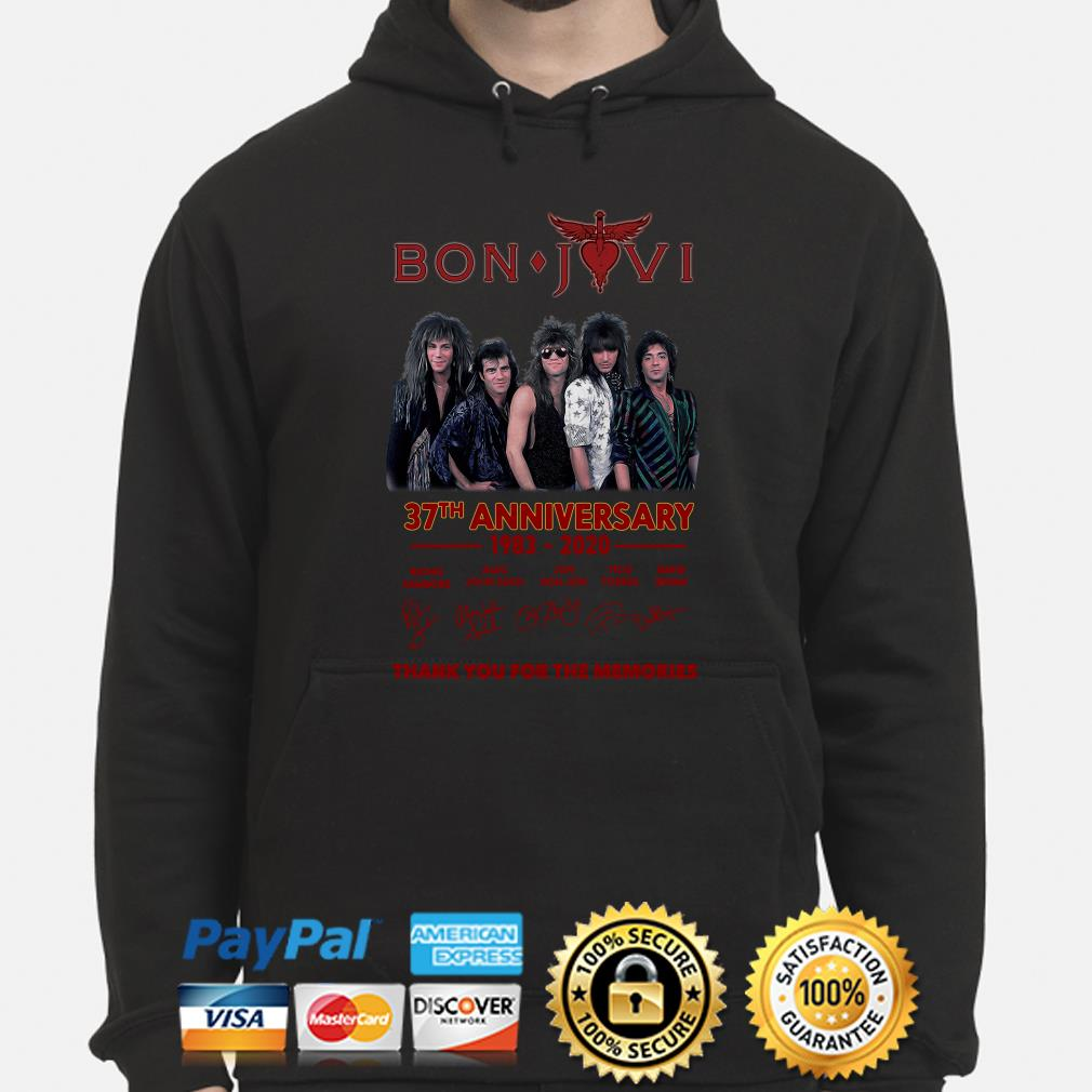 Bon Jovi 37th anniversary thank you for the memories signature Hoodie