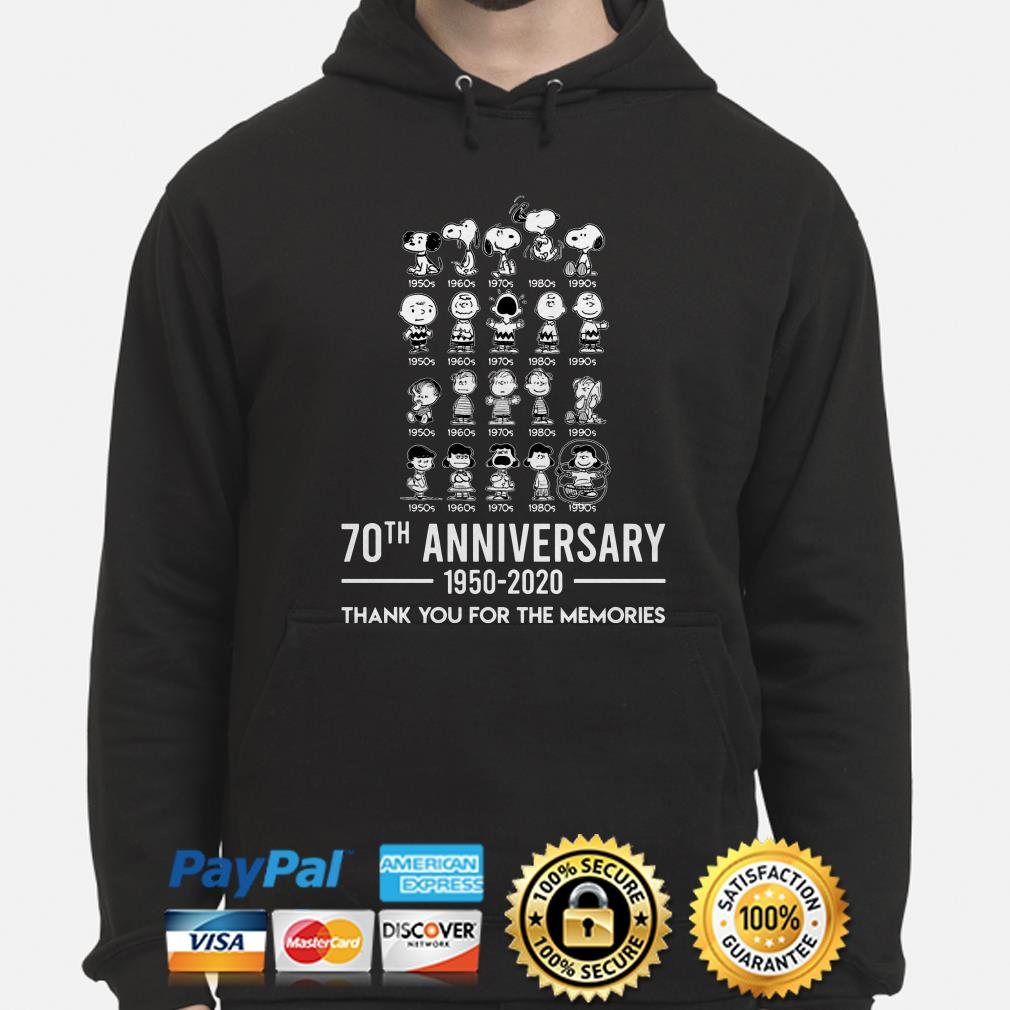 Peanuts all characters 70th anniversary thank you for the memories Hoodie