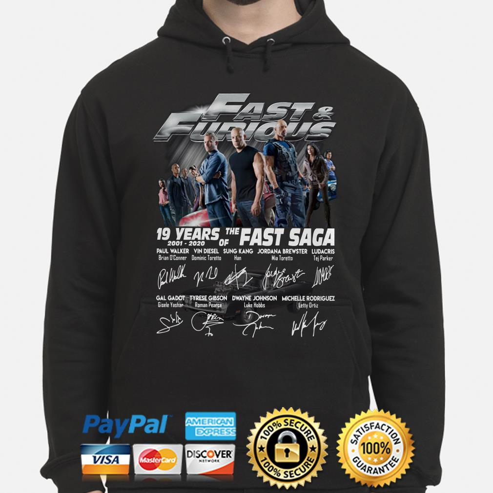 Fast And Furious 19 years of the Fast Saga signatures Hoodie