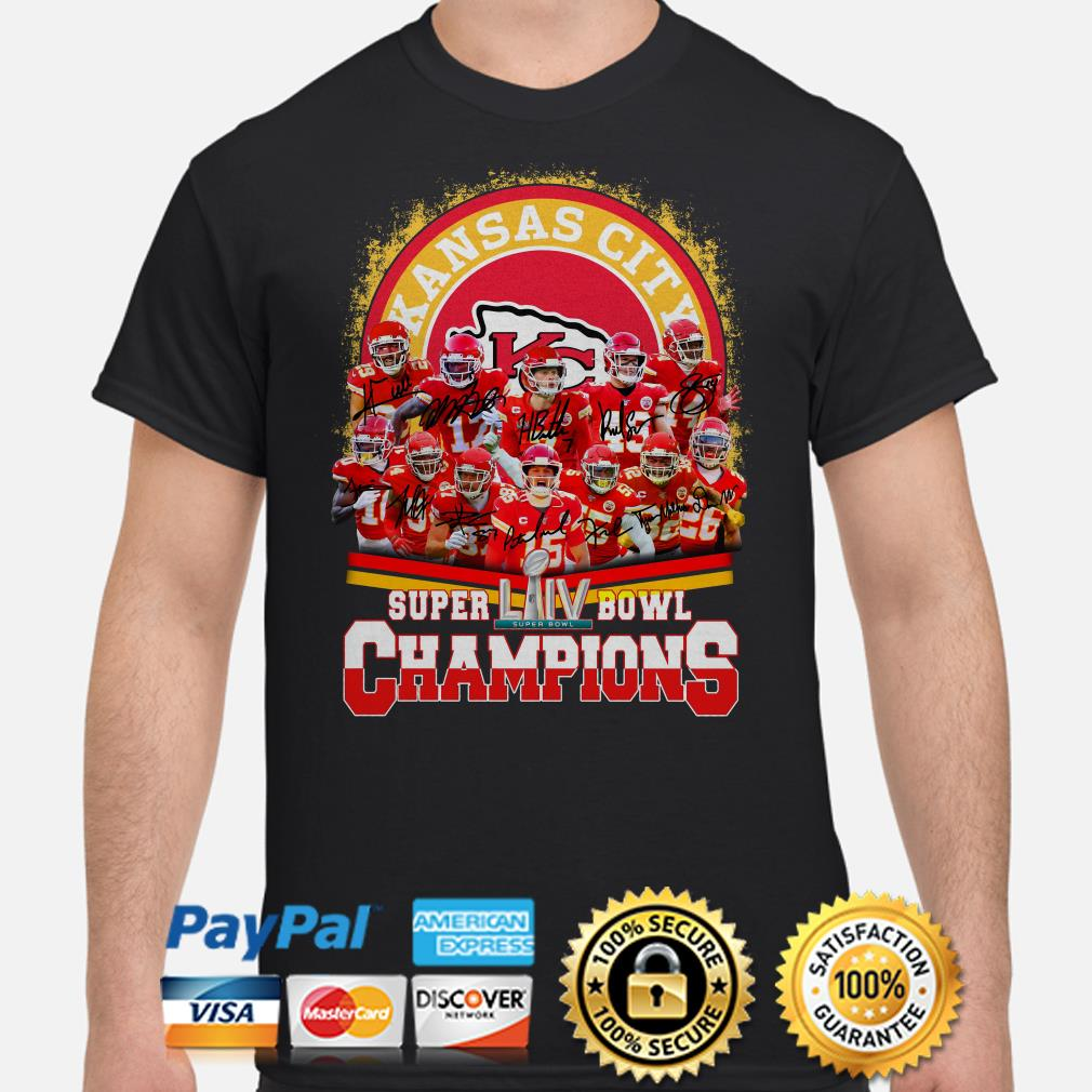 Kansas City Chiefs Super Bowl LIIV Champions signatures shirt