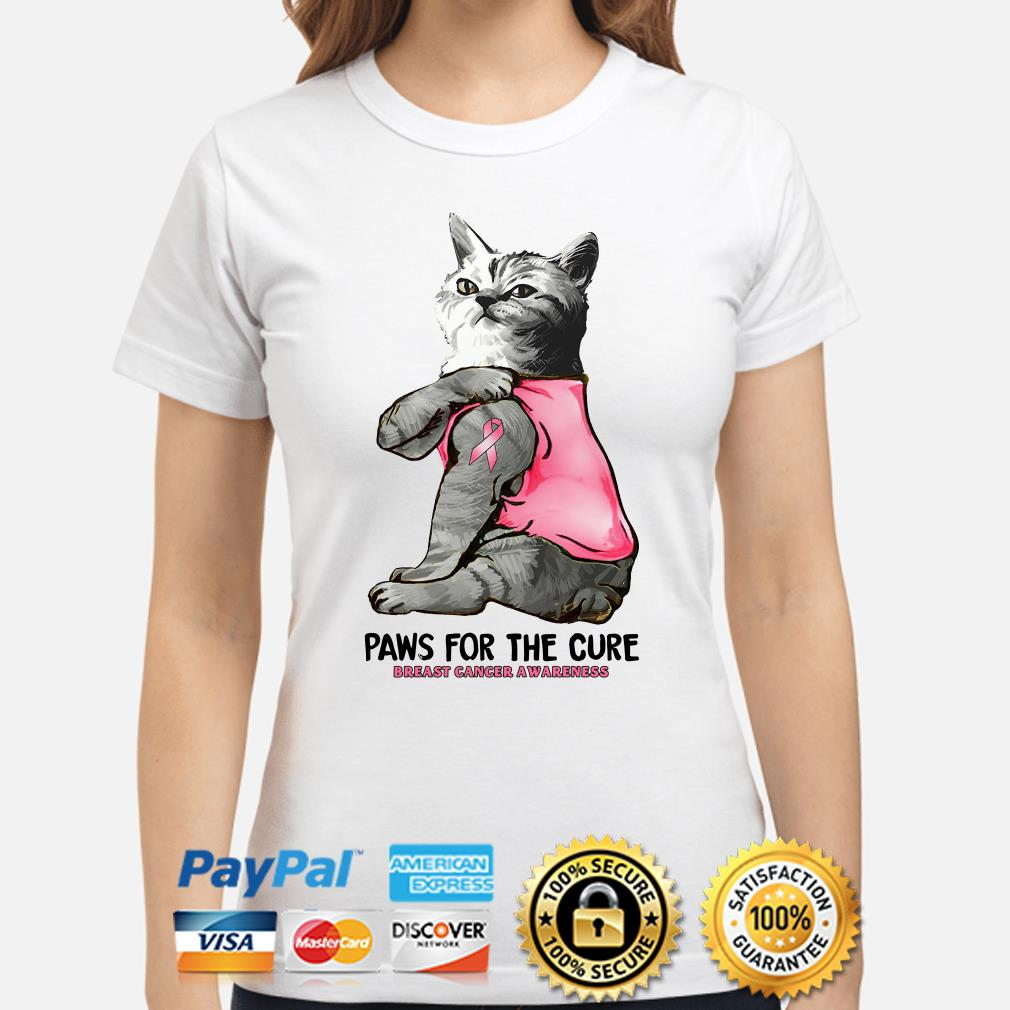 Tattoos cat Paw for the cure Breast cancer awareness Ladies shirt