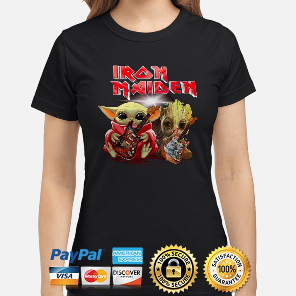 Baby Yoda And Groot Hug Iron Maiden Ladies Shirt