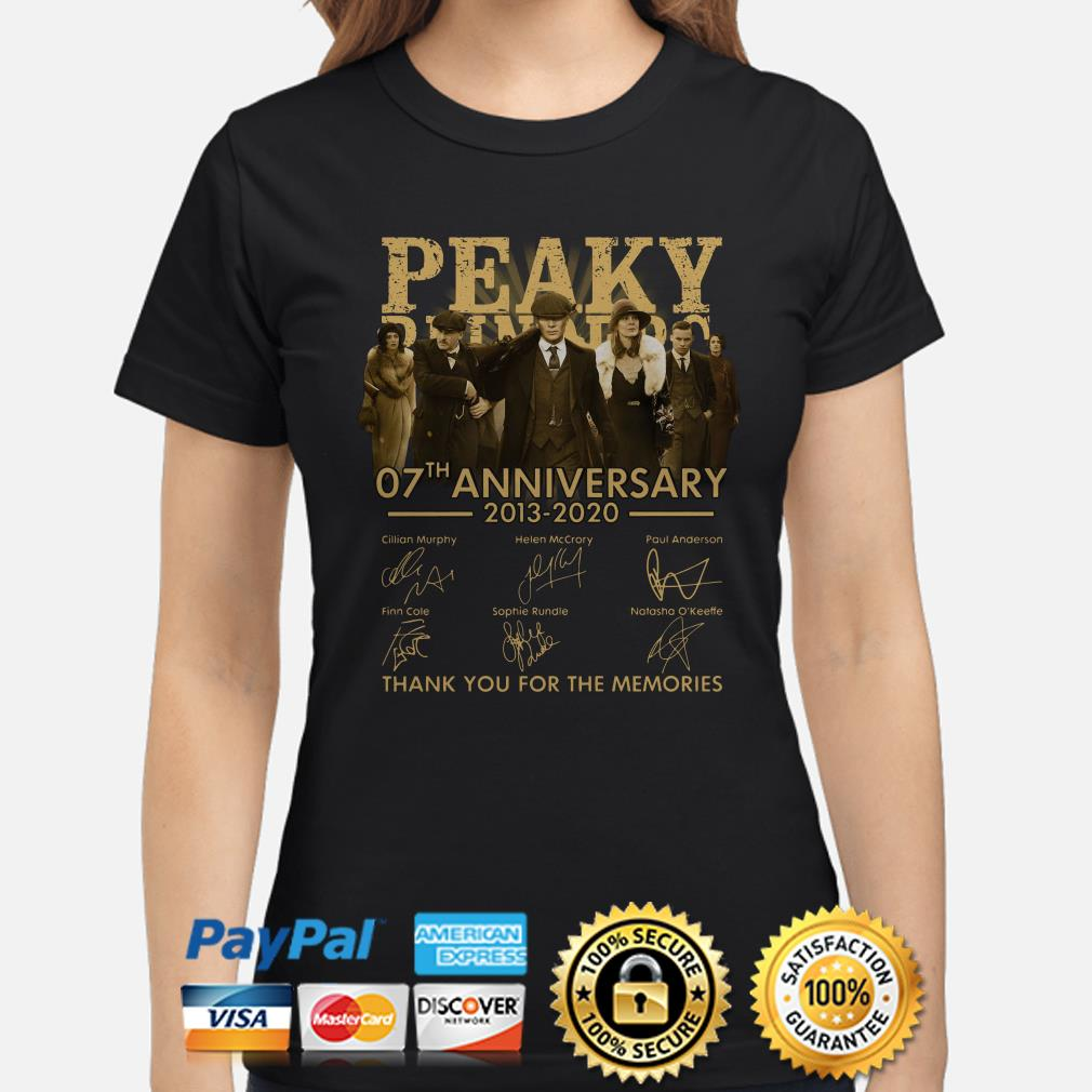 Peaky Blinders 07th Anniversary 2013 2020 Thank You For The Memories Signatures Ladies shirt