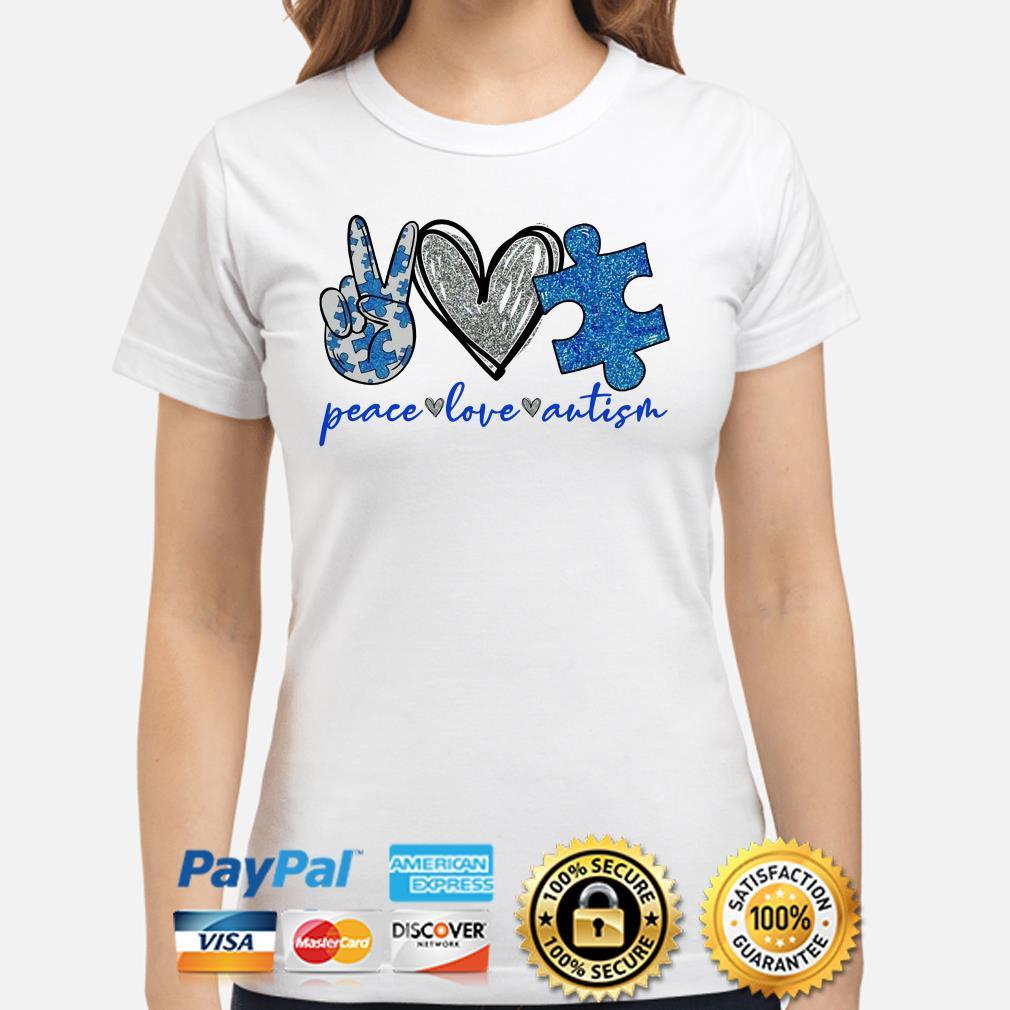 Peace love Autism heart Diamonds Ladies shirt