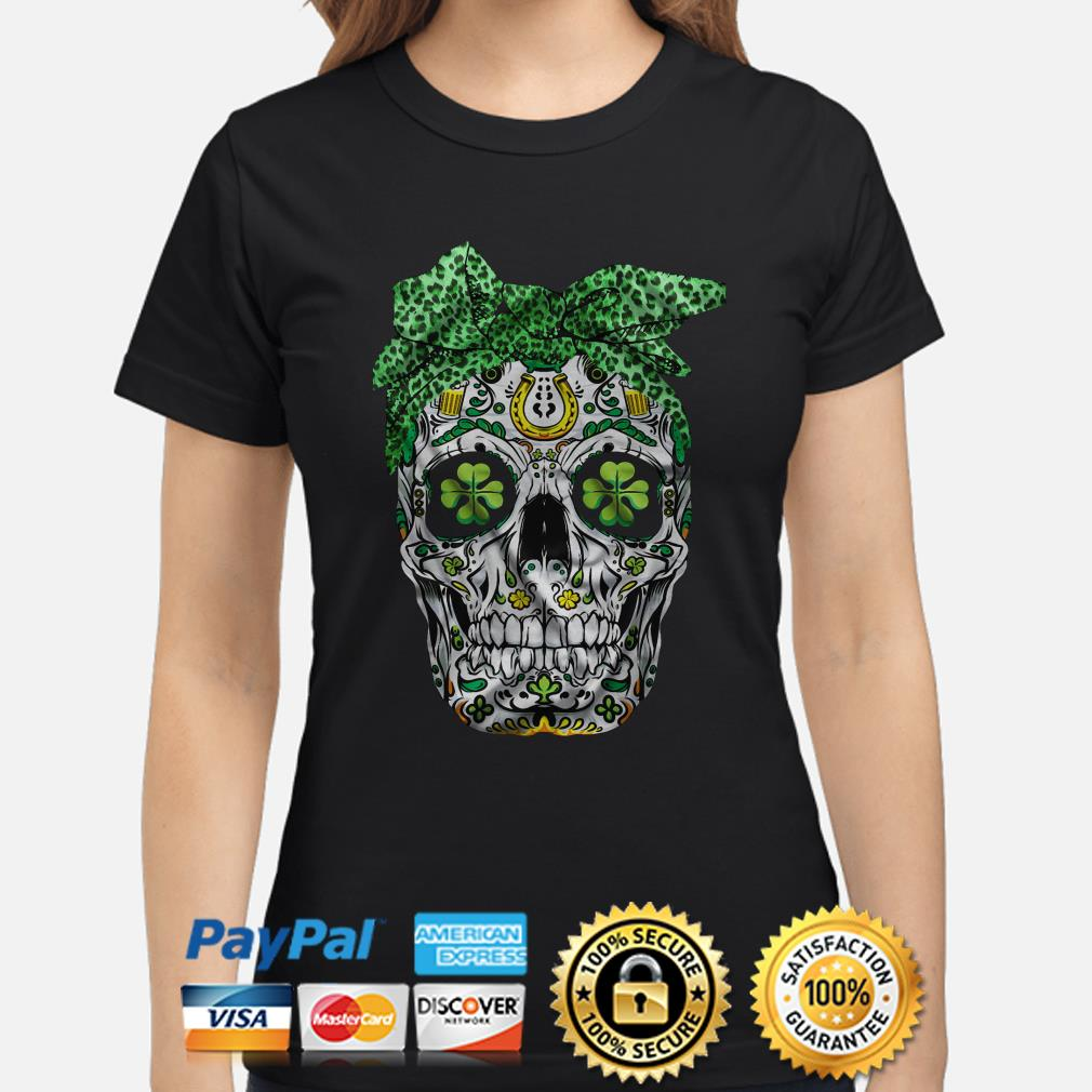 Skull Bandana St Patricks Day Ladies shirt