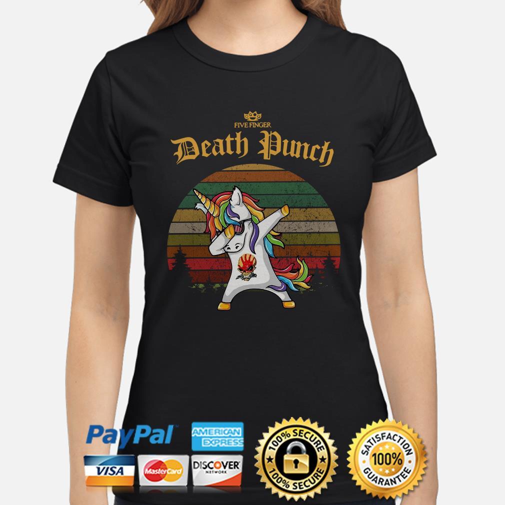 Unicorn dabbing Five Finger Death Punch vintage Ladies shirt