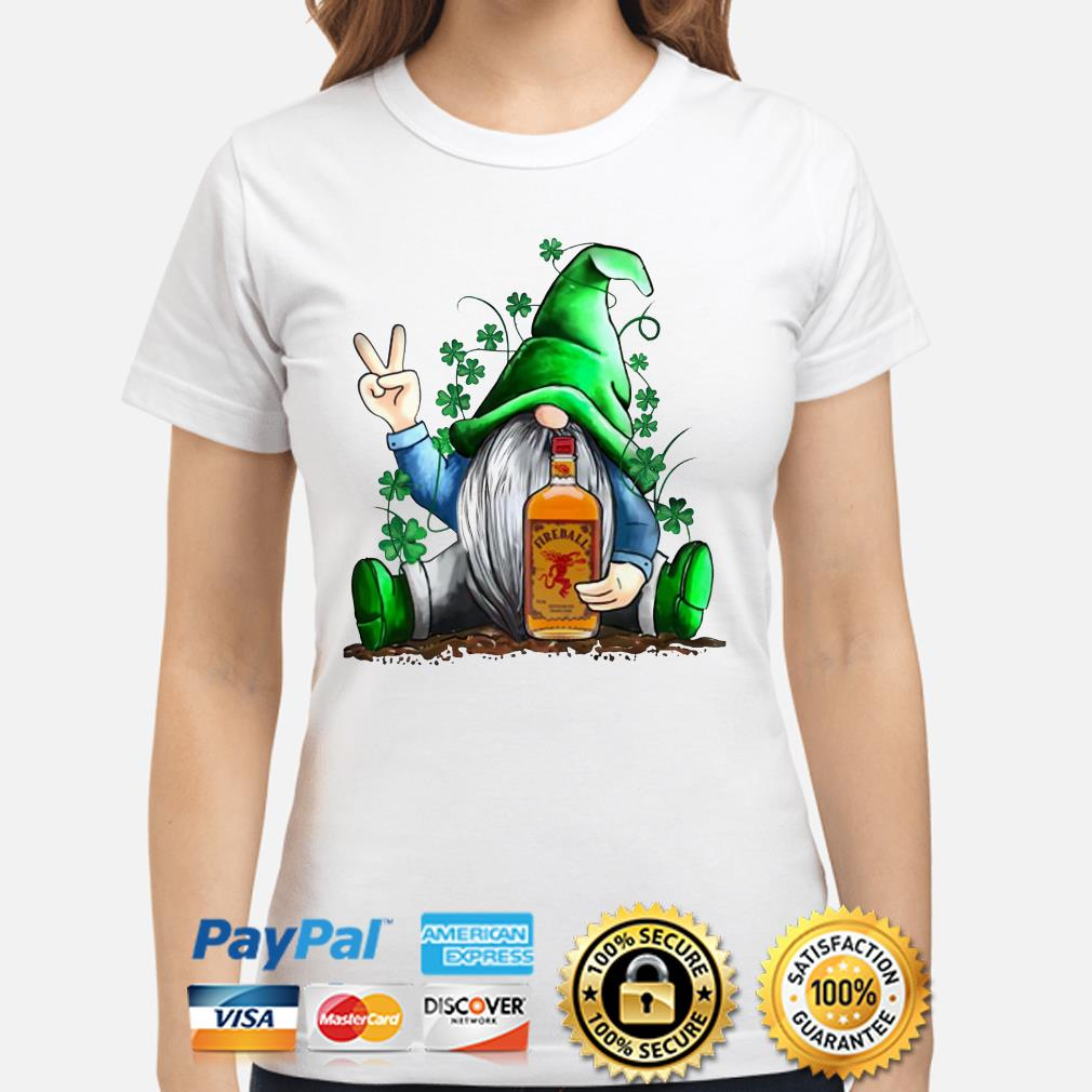St. Patrick's Day Gnome Hugging Fireball Ladies shirt