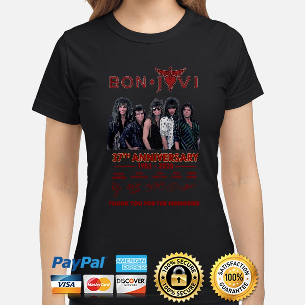 Bon Jovi 37th anniversary thank you for the memories signature Ladies shirt