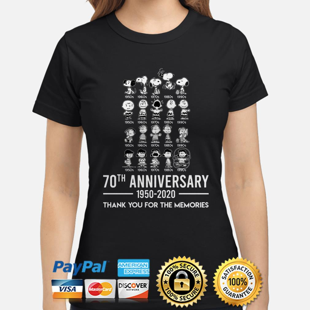 Peanuts all characters 70th anniversary thank you for the memories Ladies shirt