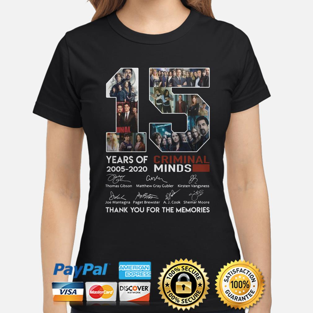 15 years of Criminal Minds thank you for the memories signature Ladies shirt