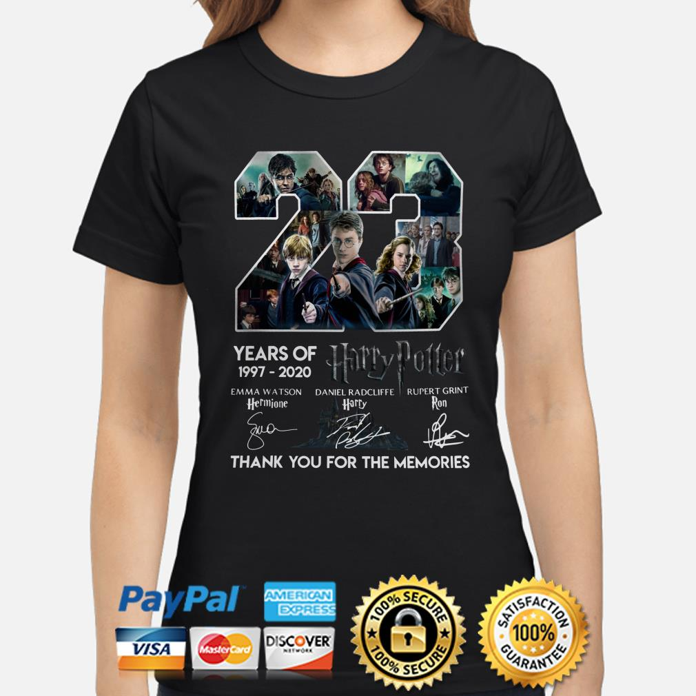 23 years of Harry Potter thank you for the memories signature Ladies shirt