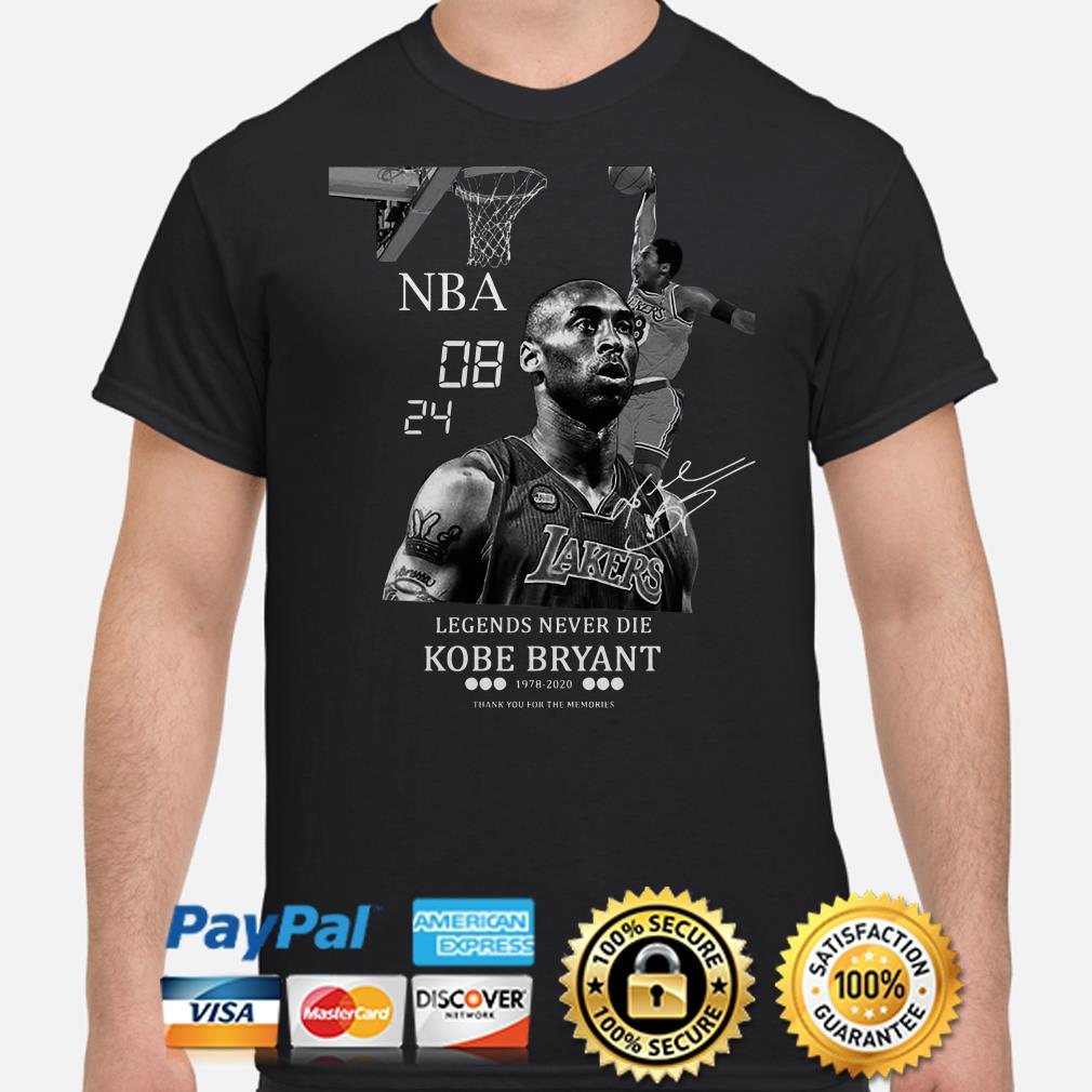 NBA 08 24 Legends Never Die Kobe Bryant Thank You For The Memories Shirt