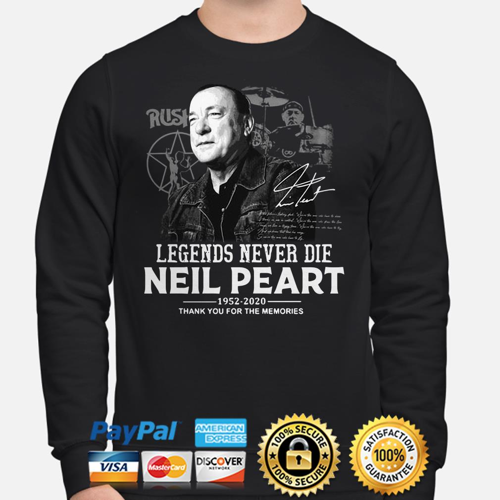 Neil Peart Legends never die 1952 2020 thank you for the memories Sweater