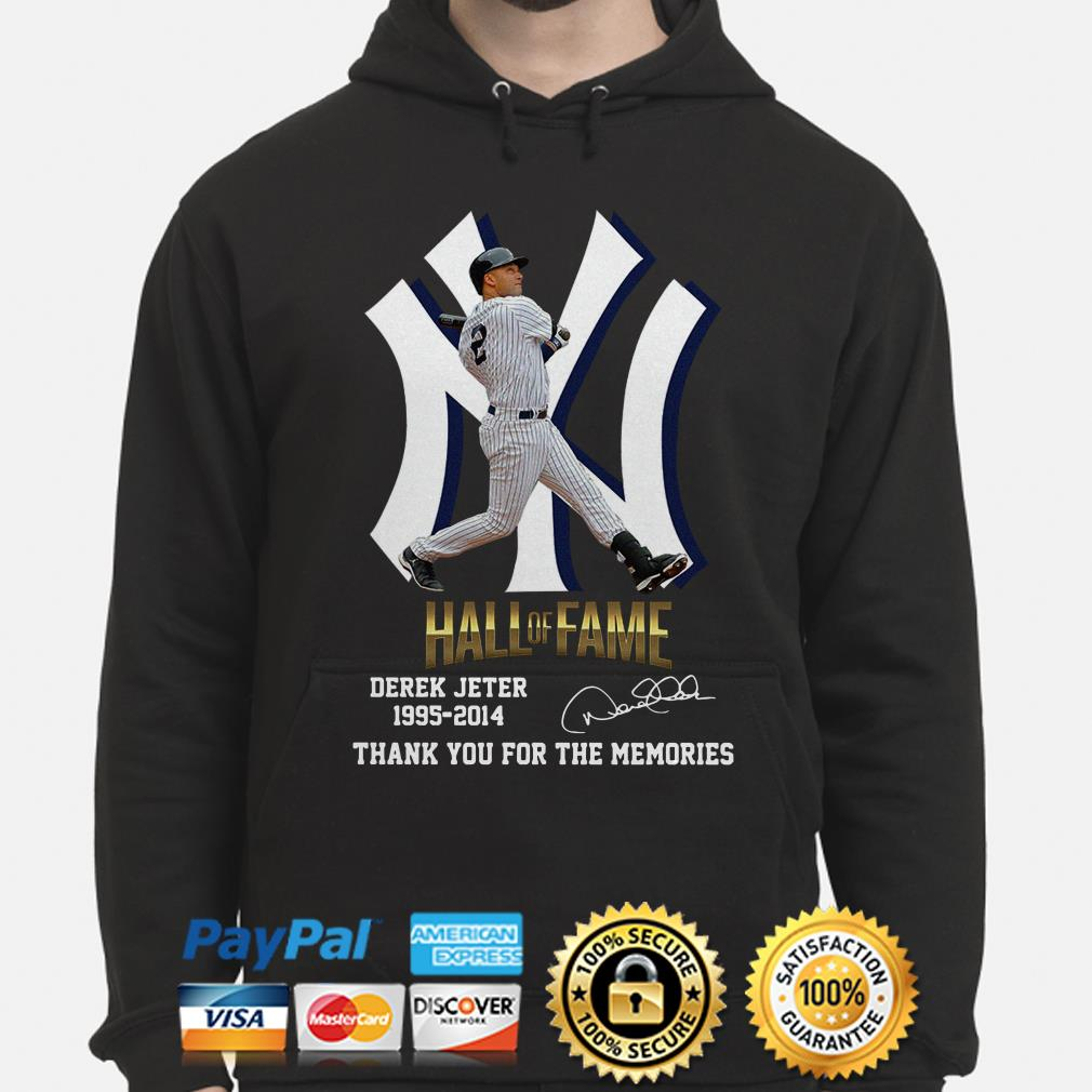 New York Yankees Hall Of Fame Derek Jeter 1995 2014 Thank You For The Memories Signature Hoodie