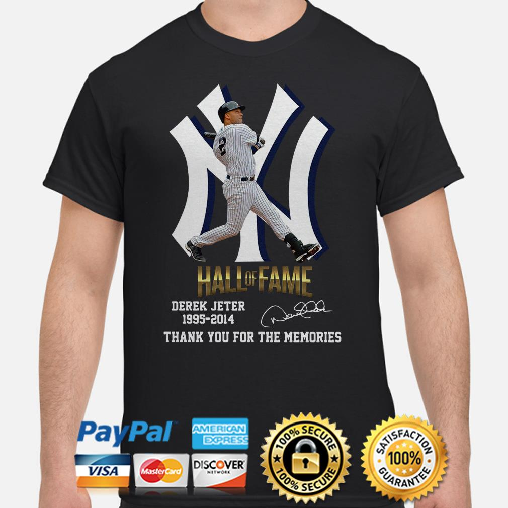 New York Yankees Hall Of Fame Derek Jeter 1995 2014 Thank You For The Memories Signature Shirt