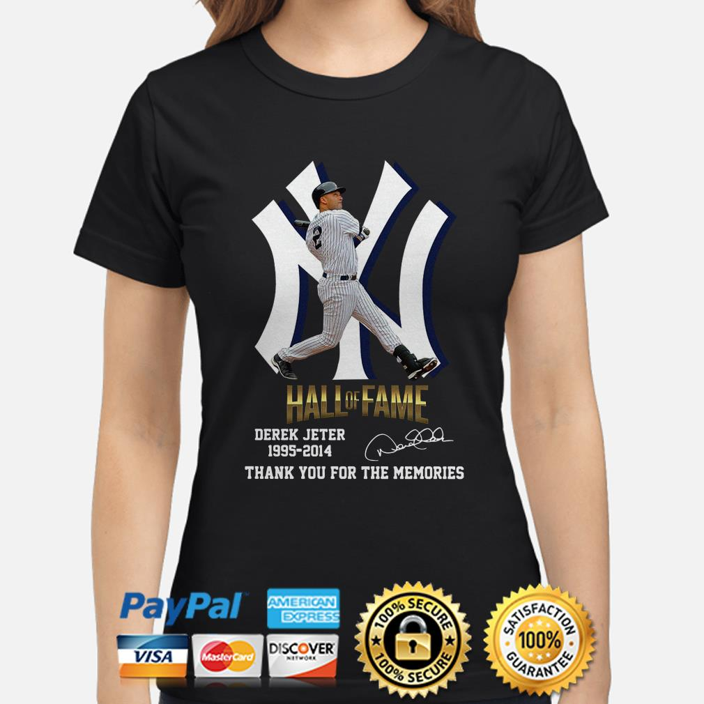 New York Yankees Hall Of Fame Derek Jeter 1995 2014 Thank You For The Memories Signature ladies Shirt