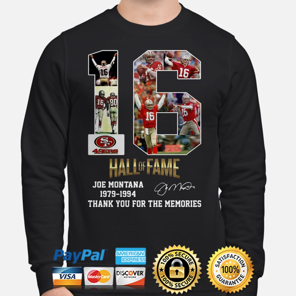 San Francisco 49ers 16 Hall Of Fame Joe Montana 1979 1994 Thank You For The Memories Sweater