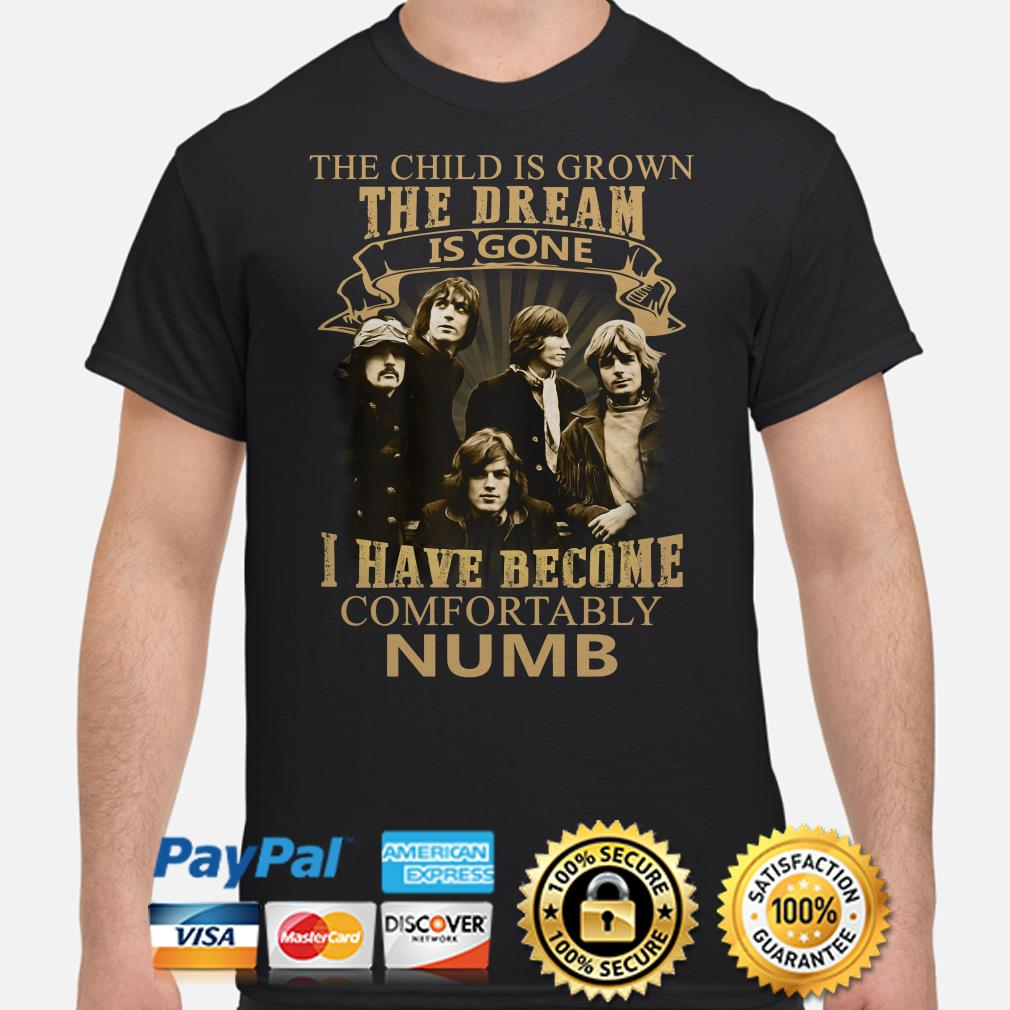 The Child is grown the dream is gone I have become comfortably numb Pink FLoyd shirt