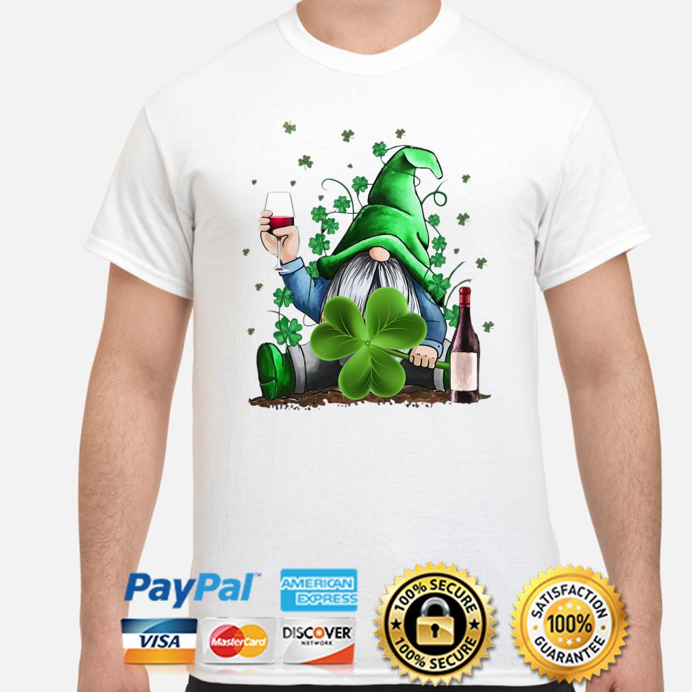 Irish Gnome drink wine St Patrick's day shirt