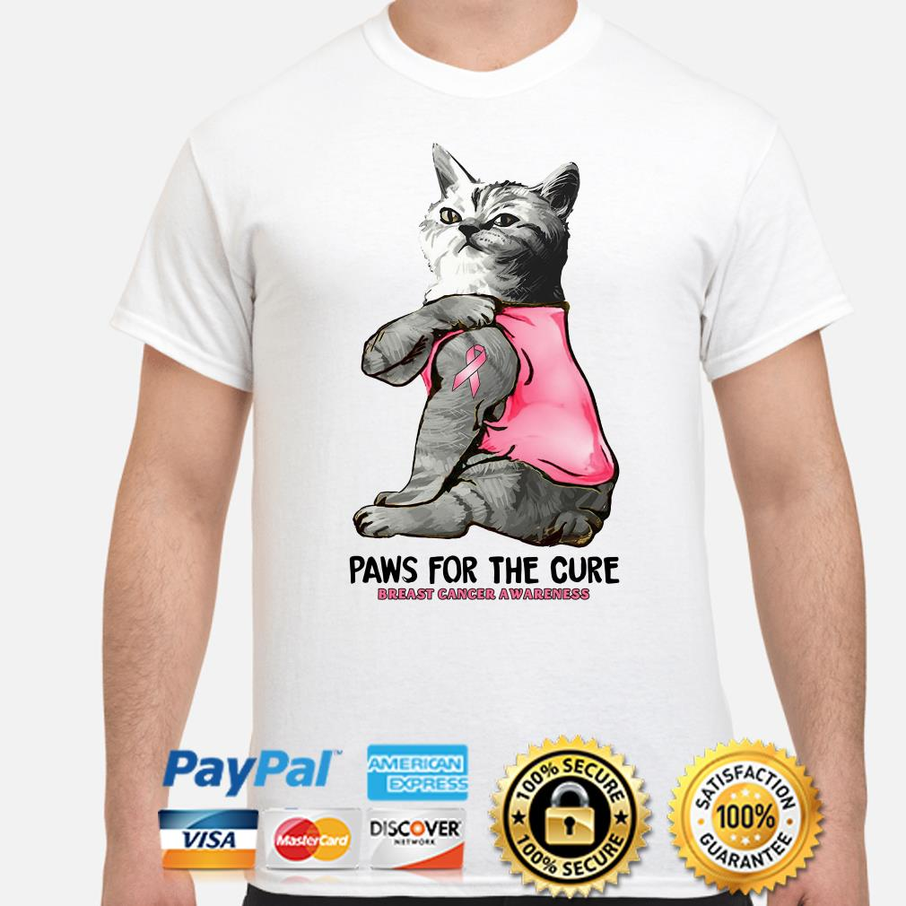 Tattoos cat Paw for the cure Breast cancer awareness shirt