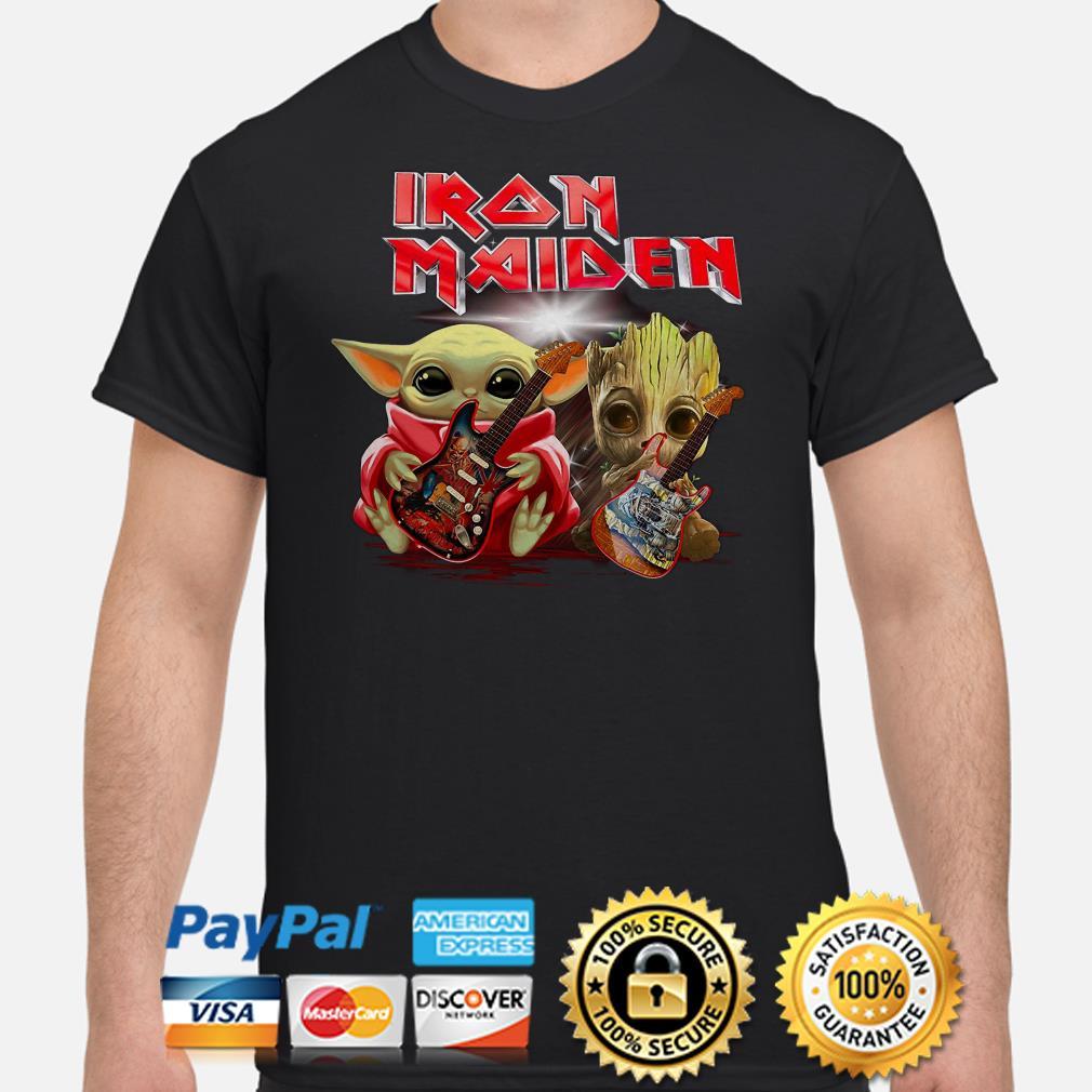 Baby Yoda And Groot Hug Iron Maiden Shirt