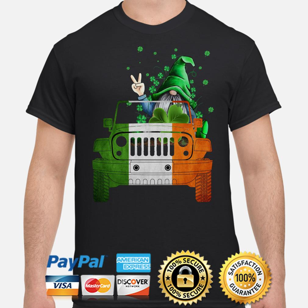 Gnome Driving Jeep St Patrick_s Day Shirt