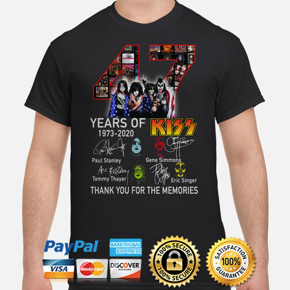 47 years of Kiss thank you for the memories signature shirt