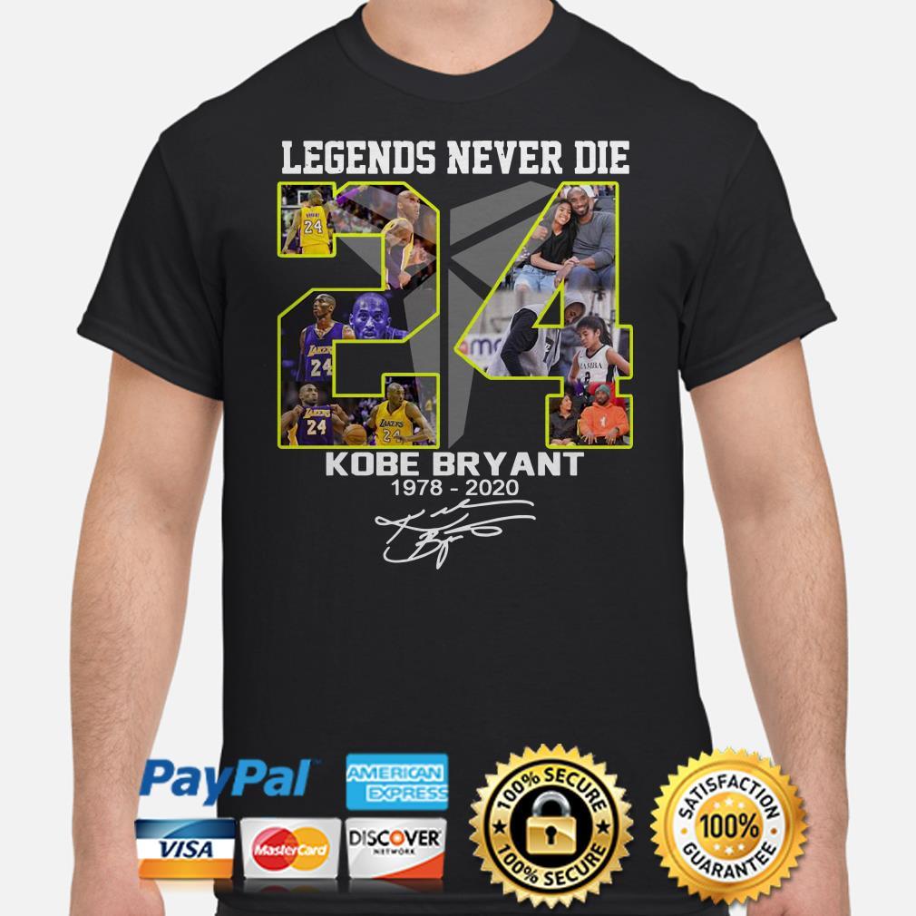 Legends never die Kobe Bryant Black Mamba 1978 2020 signature shirt